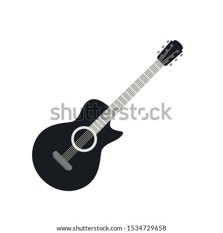 Guitar icon. Flat illustration of guitar vector icon for web design