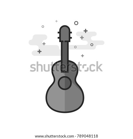 guitar icon in flat outlined