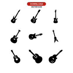 guitar icon or logo isolated sign symbol vector illustration - Collection of high quality black style vector icons