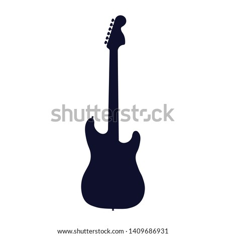 Guitar icon, silhouette, logo on white background