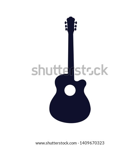 Guitar icon vector, Acoustic musical instrument sign Isolated on white background.