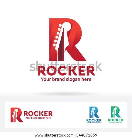 guitar in letter r logo