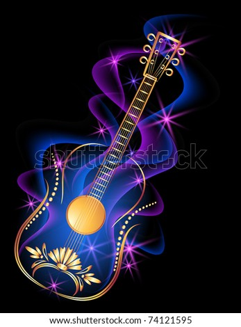 Guitar in smoke and stars