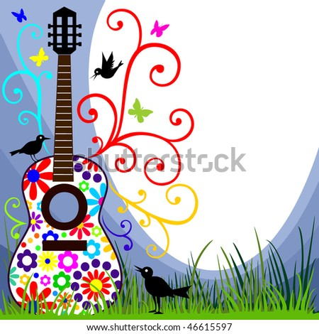 Guitar in the meadow