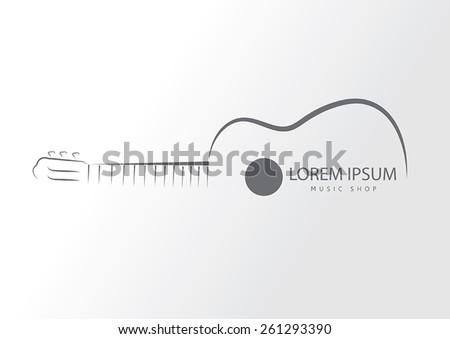 Guitar line swirly art logo vector template