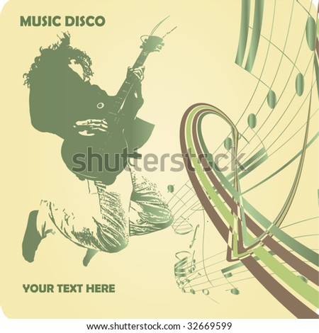 Guitar master jumping and playing rock. Vintage vector background