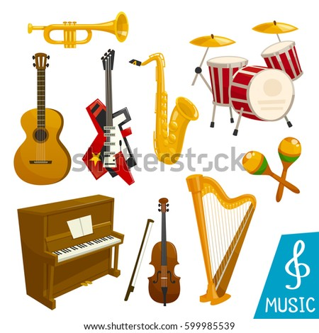 Guitar, piano and saxophone vector isolated musical instrument icons. Set of harp and sax, drum station and cymbals or maracas, fiddle violin and trombone horn or trumpet for orchestra or jazz music