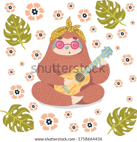 guitar player lazy animal and