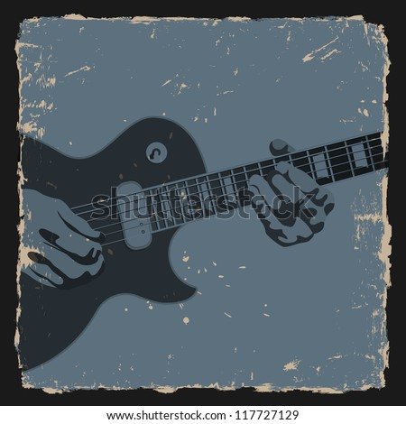 Guitar player on grunge background Vector illustration 117727129