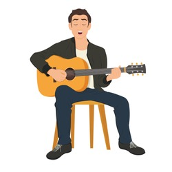 Guitar player singing song and playing an acoustic guitar. Vector cartoon illustration.