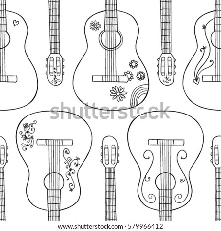 Guitar seamless pattern made for print or color books