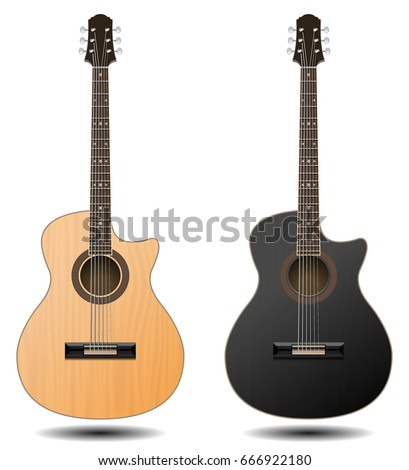 Guitar set isolated on white background. Classic guitar for Your business project. Black and brown wooden guitars. Vector Illustration