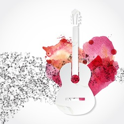 Guitar shape  made from paper. Watercolor heart. Music background. Love songs. I love music concept