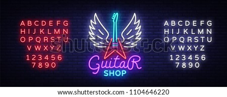 Guitar shop neon sign vector. Design template Guitar Store logo in neon style, light banner, bright neon night signboard, emblem for store with musical instruments. Vector. Editing text neon sign