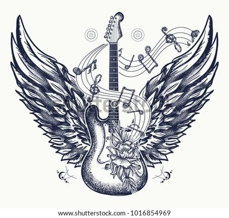 guitar tattoo and t shirt design