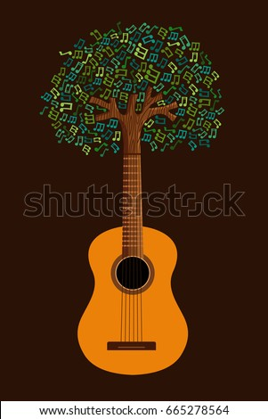 guitar tree with musical note
