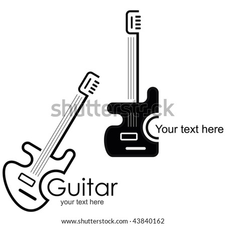 Guitar - vector stylized icon. Design element.