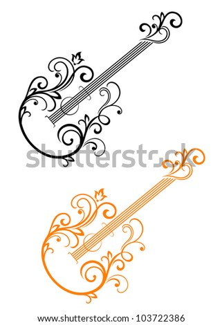 Guitar with floral elements in retro style for musical design. Jpeg version also available in gallery