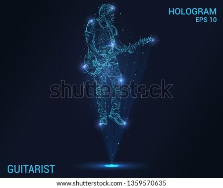 Guitarist hologram. Digital and technological background guitarist. Futuristic guitarist design