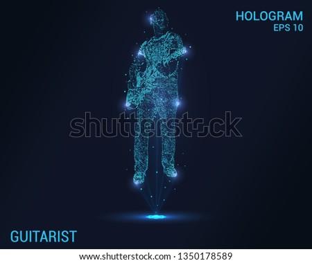 Guitarist hologram. Digital and technological background guitarist. Futuristic music design