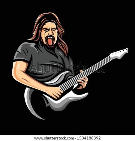 Guitarist logo vector, illustration and avatar