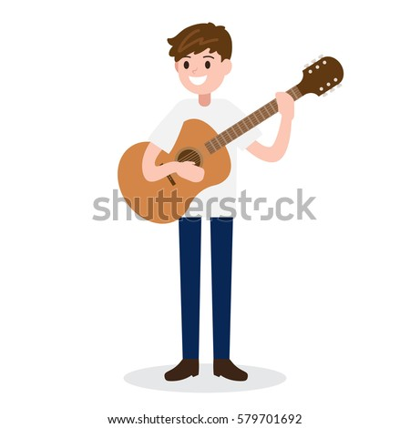 guitarist. man with guitar. musician vector illustration on white background.