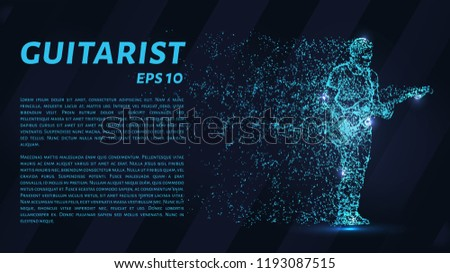 Guitarist of particles on a dark background. The guitarist made out of geometric shapes. Vector illustration.