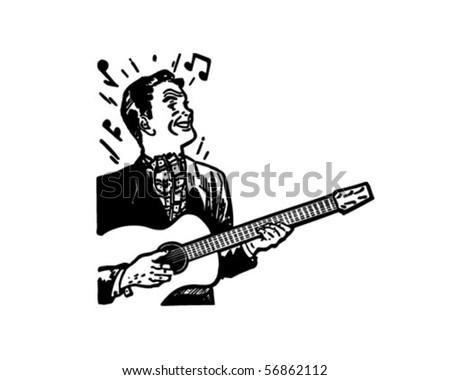 stock vector : Guitarist - Retro Clip Art