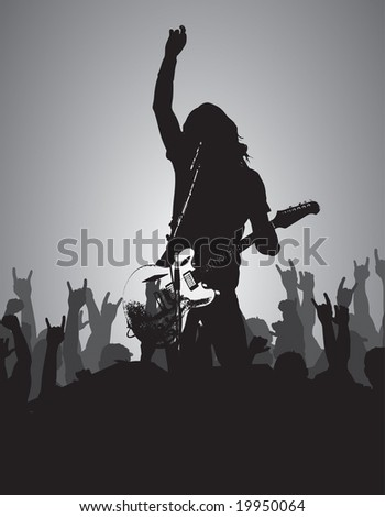 guitarist solo with crowd vector can be resized and recolored easily.