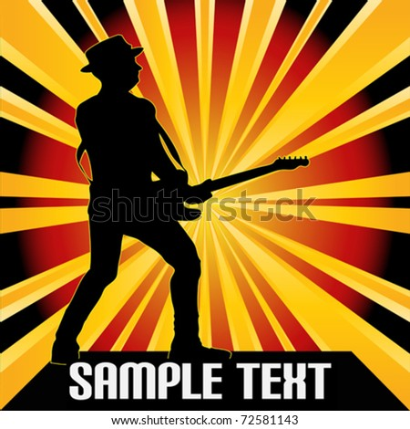 Guitarist Starburst Vector Background