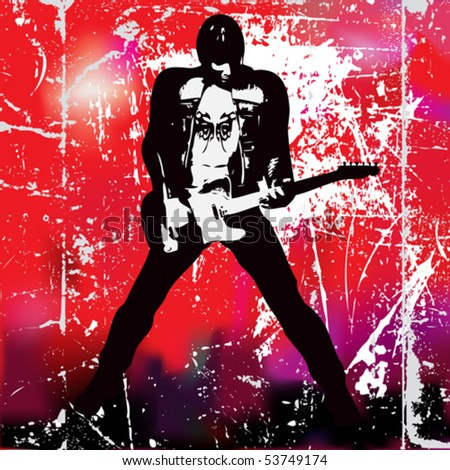 Guitarista, Vector Poster of a grunge guitarist