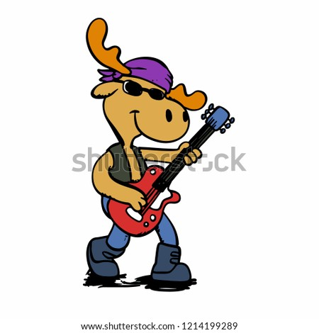 Guitarrist moose - rocker moose vector illustration