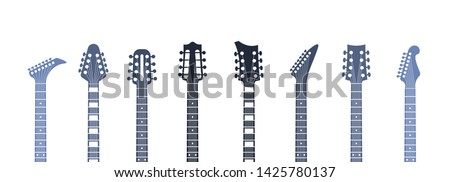 Guitars headstock. Flat acoustic and electric guitar necks and heads, minimal abstract template. Vector minimalism isolated illustration object set