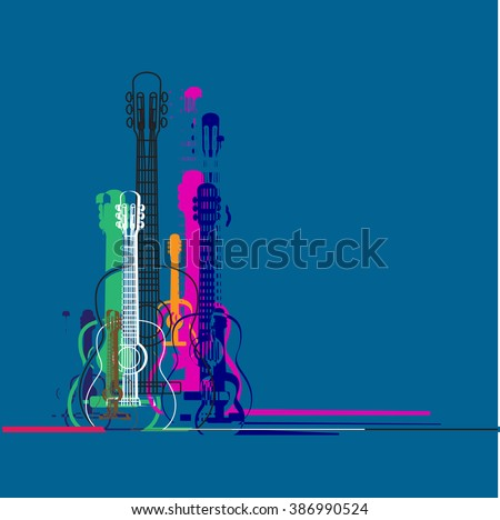 guitars silhouette and linear