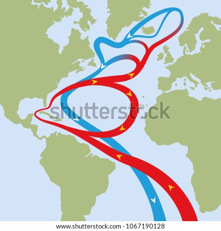 Gulf stream in atlantic ocean. Circular flows of red warm surface currents and blue cool deep-water currents that cause weather phenomena like hurricanes and is influential on the worlds climate.