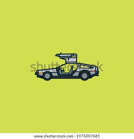 Gullwing sports car vector illustration for Back To The Future Day on October 21