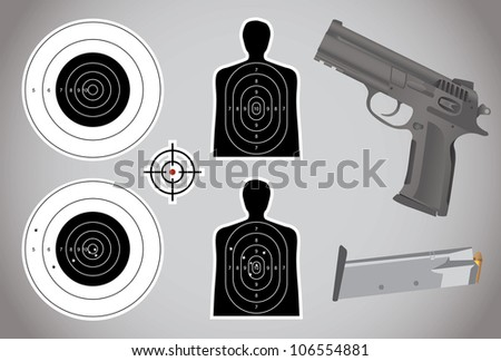 gun, ammo and targets - illustration