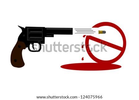 gun ban symbol being shot