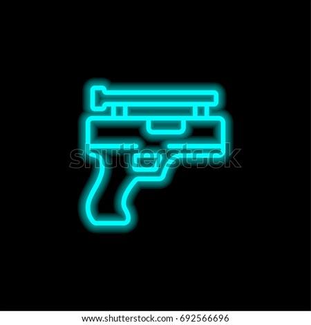Gun blue glowing neon ui ux icon. Glowing sign logo vector