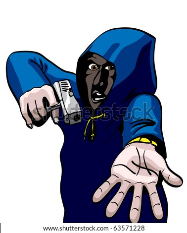 Gun Crime, Hooded mugger in alleyway : Shutterstock