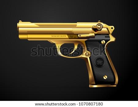 gun gold metal weapon vector