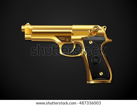 gun gold vector realistic style