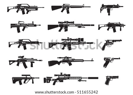 gun icons set handgun rifle