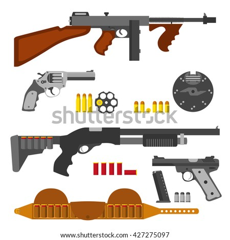 gun icons set  machine gun