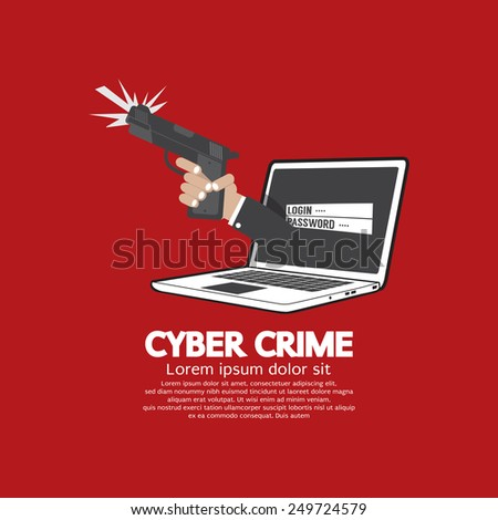 gun in hand cyber crime concept