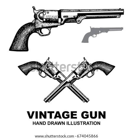 gun revolver. handgun  six...