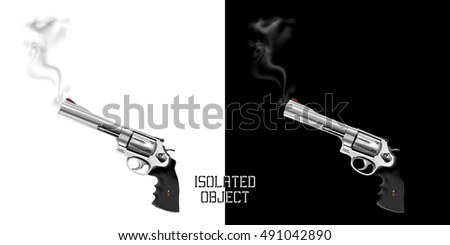 gun revolver with smoke from