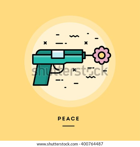 gun shooting flower  flat