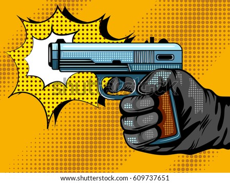 gun shooting pop art style