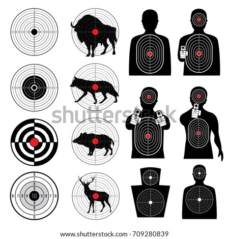 Gun shooting targets and aiming target silhouettes vector collection. Aim and goal, target for sniper, bullseye round aim illustration